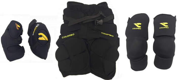 Colombo Reaction goal keeper padded shorts, elbow pads and thigh-knee-shin guards