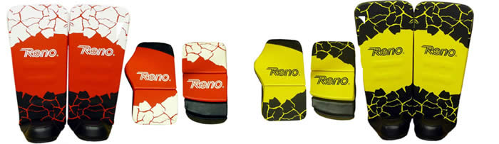 Reno Exel goal keeper gloves and leg guards