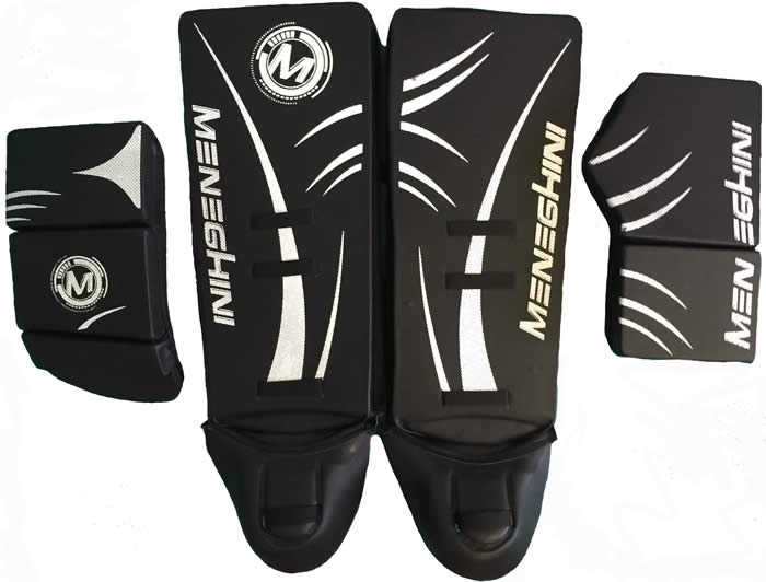 meneghini goal keeper gloves and leg guard set